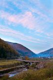 Autumn evening mountain village Royalty Free Stock Photo