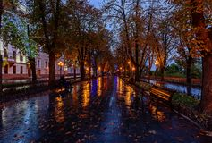 Autumn Evening at the Promenade in Odessa stock images