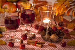 Autumn evening still-life with candle and tea Royalty Free Stock Image