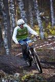Autumn extreme mountain bile competition Royalty Free Stock Photo