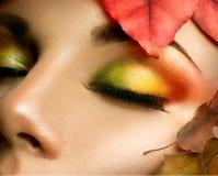 Autumn eye make-up Stock Photo