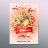 Autumn fair week poster with mockingbird. Additional file in eps 10 vector illustration