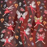 Autumn fairy ballet. Seamless pattern with beautiful winged dancers Royalty Free Stock Images