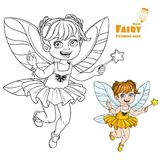 Autumn fairy girl with a Magic wand color and outlined Stock Images