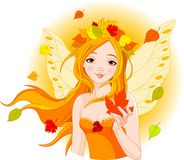 Autumn fairy with leaf Stock Photo