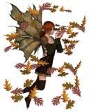 Autumn Fairy med virvlande runt sidor Arkivfoto