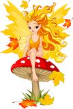 Autumn Fairy on the Mushroom royalty free illustration