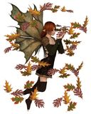 Autumn Fairy with Swirling Leaves. Fantasy illustration of a autumn fairy dressed in brown with red hair and leaf wings, playing with scattered swirling leaves stock illustration