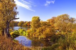 Autumn fairy tale. Lake in the autumn. The Moscow area. The city of Protvino Stock Image