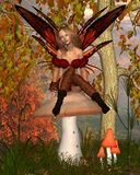 Autumn Fairy and toadstool - woodland background Royalty Free Stock Photos