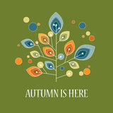Autumn or fall background with foliage leaves on. Tree. Vintage retro design. Eps10 vector illustration Royalty Free Illustration