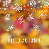 Autumn, fall background with hand drawn leaves, blurred background,  Royalty Free Stock Images