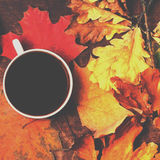 Autumn Fall Background  with leaves and cup of black coffee - Au Stock Image