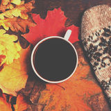 Autumn Fall Background  with leaves and cup of black coffee - Au Stock Images