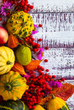 Autumn fall background table setting background vegetables fruit. Autumn setting on the wooden table with fruits and vegetables Stock Photo