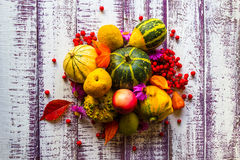 Autumn fall background table setting background vegetables fruit Stock Photography