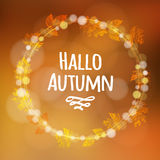Autumn, fall background  with wreath, made of leaves, lights,  Stock Images