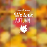 Autumn fall blurred background with leaves Royalty Free Stock Image