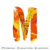 Autumn fall bright orange leaves letter. Paint brush silhouette filled with leaves pattern Stock Photos