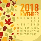Autumn/ fall calendar months template. With abstract falling leaves Royalty Free Stock Photography