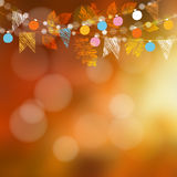 Autumn fall card, banner. Garden party decoration. Garland of oak, maple leaves, lights, party flags.Vector blurred illustration Stock Photo
