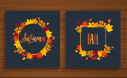 Autumn and Fall cards in frame from autumn leaves. Stock Photo