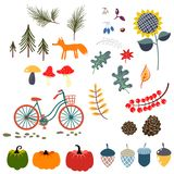 Autumn Fall Clip Art Vector Illustrations. Royalty Free Stock Image