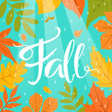 Autumn fall colorful border frame background with park leaves rain drops and beams. Autumn fall colorful border frame background with park leaves rain drops and Stock Images