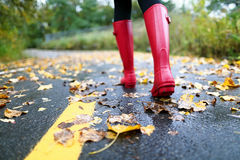 Autumn fall with colorful leaves and rain boots. Autumn fall concept with colorful leaves and rain boots outside. Close up of woman feet walking in red boots Stock Photos