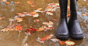 Autumn Fall concept wellington boots leaves Stock Photo