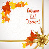 Autumn fall of discount. Vector illustration of autumn sales and discounts for advertising with a bow in the corner Royalty Free Stock Photo