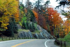 AUTUMN-FALL- Driving Through Fall Colors in New York State. A road trip through the gorgeous Fall colors in up state New York stock photo