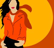 Autumn Fall Fashion Model. A simple illustration of a woman wearing a jacket, scarf with long flowing hair set against a circle background and colored in rich royalty free illustration