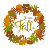 Autumn fall forest leaves wreath ,. Handwritten text Royalty Free Stock Photo