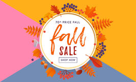 Autumn fall gold sale poster or September shopping promo banner autumnal discount Stock Photo