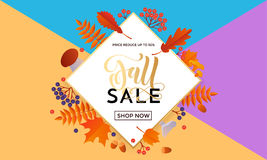 Autumn fall gold sale poster or September shopping promo banner autumnal discount Stock Photos