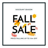 Autumn fall gold sale poster or September shopping promo banner autumnal discount Royalty Free Stock Photo