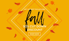 Autumn fall gold sale poster or September shopping promo banner autumnal discount. Fall gold sale poster or September shopping promo banner for autumnal discount Royalty Free Stock Image