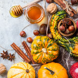 Autumn fall halloween still life composition with pumpkin nuts chestnut royalty free stock image