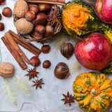 Autumn fall halloween still life composition with pumpkin nuts chestnut Stock Image