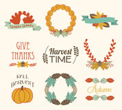 Autumn Fall Harvest Elements. A vector set of autumn, fall, and harvest elements Stock Images