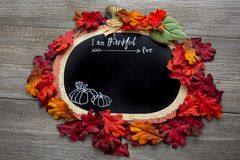 A autumn, fall inspired I am thankful for background surrounded by fall leaves on a wooden table. Perfect for a Thanksgiving messa. Ge stock photography