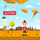 Autumn - Fall Landscape with Falling Leaves. Happy Boy. Sunny Day in City Park Vector Illustration