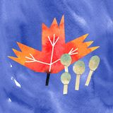 Autumn fall leaf and forest mushrooms watercolor illustration royalty free illustration