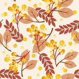 Autumn/fall leaves and berries seamless pattern Royalty Free Stock Photo