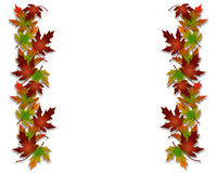Autumn Fall Leaves Border. Illustration composition of colorful fall leaves for invitation, border or background with copy space Stock Photo