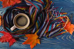 Autumn, fall leaves, hot steaming cup of coffee and a warm scarf Royalty Free Stock Photography