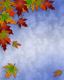 Autumn Fall Leaves and sky Border. Illustration composition of colorful fall leaves for invitation, border or background with copy space Stock Image