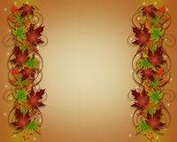 Autumn Fall Leaves Thanksgiving Border Stock Photo