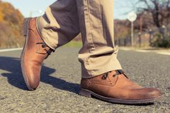 Autumn or fall male fashion shoes. Made of genuine brown leather Royalty Free Stock Photo